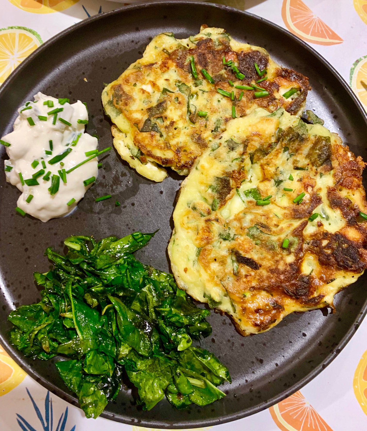 Spinach Zucchini and Feta Fritters