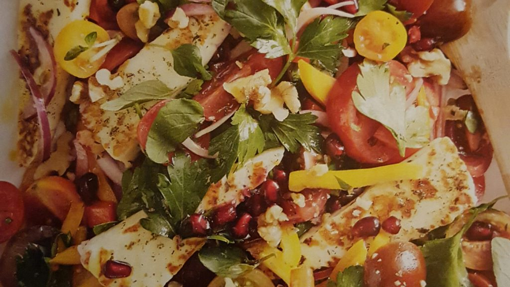 Tomato, Capsicum and Pomegranate Salad with Grilled Haloumi