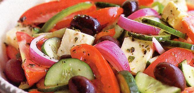 Greek Salad with Red Wine Vinegar Yogurt Dressing
