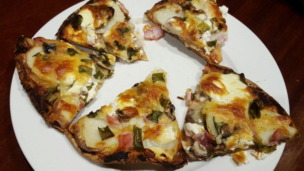 Potato & Bacon Pita Pizzas