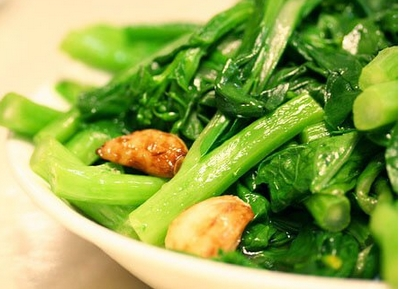 Stir-Fried Chinese Greens with Beans and Cashew Nuts