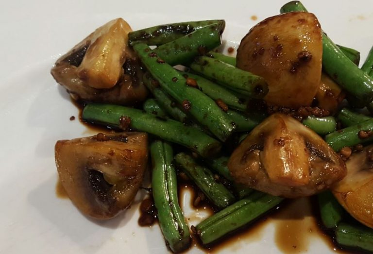 soy garlic mushrooms and beans