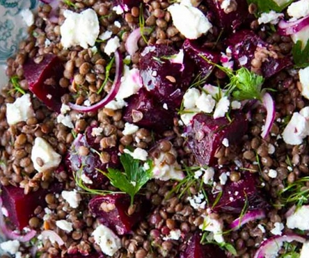 feta beetroot lentil salad